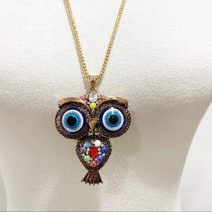 Betsey Johnson Crystals evil eye owl necklace NWT